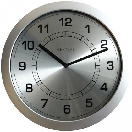Super slim - hodiny, nástěnné, kulaté (plast, kov, stříbrné)