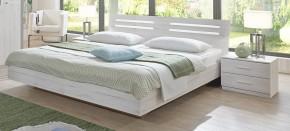 Susan - komplet, postel 180cm (bílý dub, chromové doplňky)
