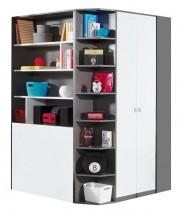 Tablo-šatní skříň, 2x dveře, 135 cm (grafit/bílá, lesk/atlantic)