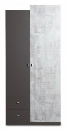 Tablo - šatní skříň, 2x dveře, 2x zásuvka (grafit/enigma)