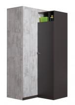 Tablo - šatní skříň, 2x dveře, 90 cm (grafit/enigma)