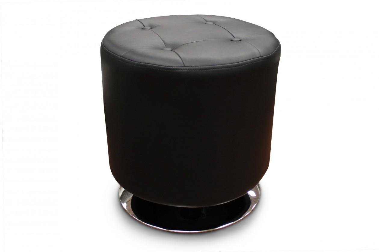 Taburet Kožený taburet Dora kruh černá