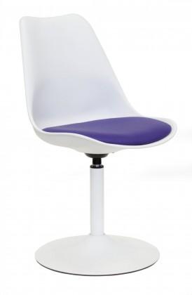 Tequila - Jídelní židle (bílá, eko kůže fialová)