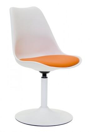 Tequila - Jídelní židle (bílá, eko kůže oranžová)