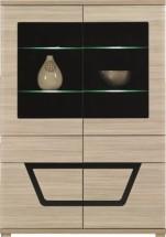 Tes - Vitrína, 2x dveře, 3x police, LED (jilm, korpus a fronty)