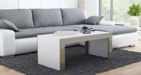 Tess - Konferenční stolek obdélníkový (bílá, hnědá)