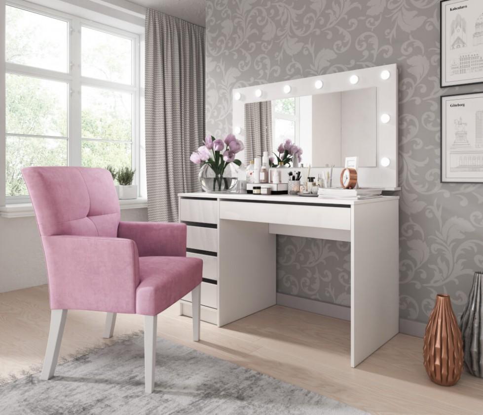 Toaletní stolek Toaletní stolek a zrcadlo Elke (bílá)