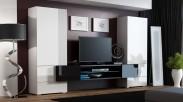 Torii - Obývací stěna (bílá lesk, tv stolek: černá/černá lesk)