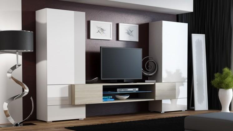 Torii - Obývací stěna (bílá lesk, tv stolek: dub sonoma)