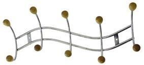 Toro - věšák 5 háčků (pochromovaný kov,dřevěné konce háčků)