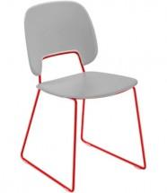Traffic-t - Jídelní židle (lak červený mat, eko kůže bílá)
