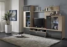 Trend - Obývací stěna (dub bardolino/grafit vysoký lesk)