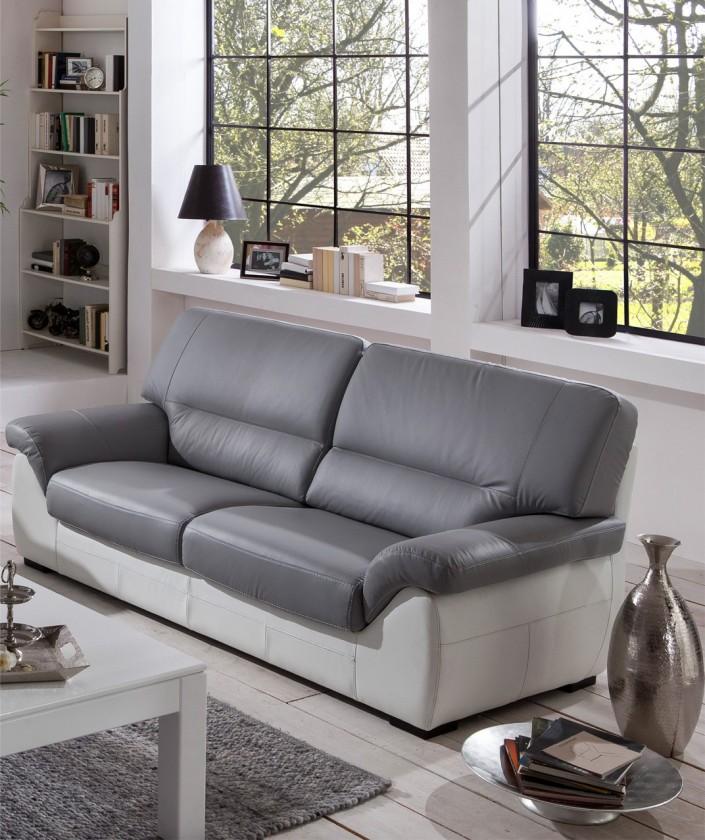Trojsedák Cortina-trojsedák (light grey-látka/white madras leather-korpus)