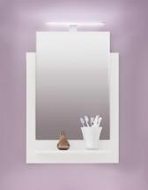 TTB - Zrcadlový panel s poličkou a osvětlením (bílá, zrcadlo)