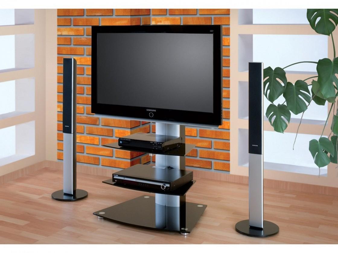 TV, Hifi stolek  - dřevěný Alladyn 2 - TV stolek s držákem (černá/stříbrná)