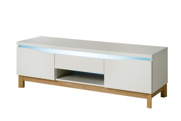 TV, Hifi stolek  - dřevěný Almera - TV stolek (bílá/dub)