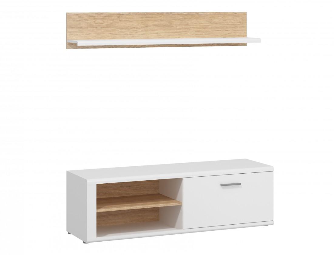 TV, Hifi stolek  - dřevěný Amber - TV stolek se záv.policí (bílá/dub jantarový)