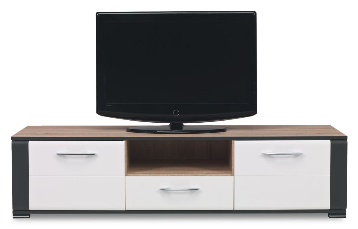 TV, Hifi stolek  - dřevěný Anita - NA 1, TV stolek (dub sonoma/bílá lesk, grafit)