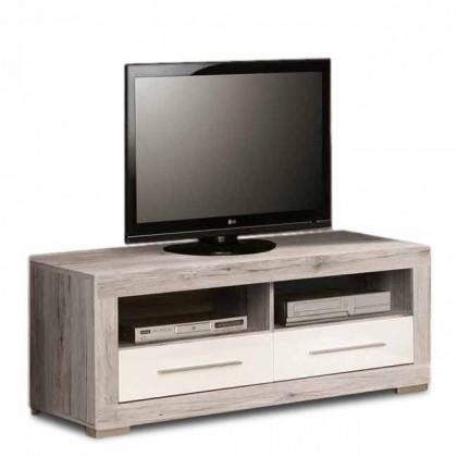 TV, Hifi stolek  - dřevěný Atrium - TV komoda (dub pískový/bílá lesk)