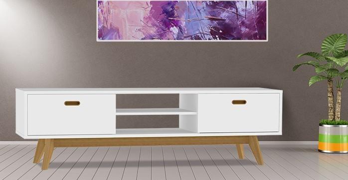 TV, Hifi stolek  - dřevěný BESS 2162-001(bílá/dub)