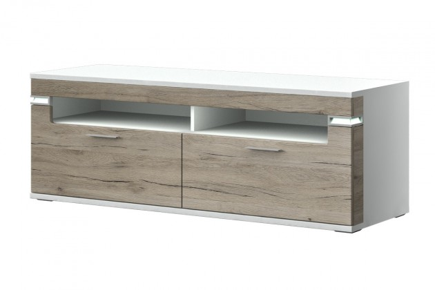 TV, Hifi stolek  - dřevěný Bow Typ 31 (bílá arctic LDTD / dub san remo sand MDF)
