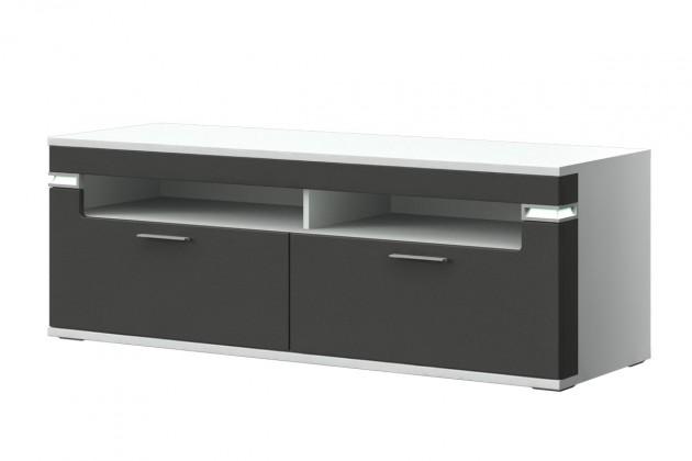 TV, Hifi stolek  - dřevěný Bow Typ 31 (bílá arctic LDTD / grafit vysoký lesk MDF)
