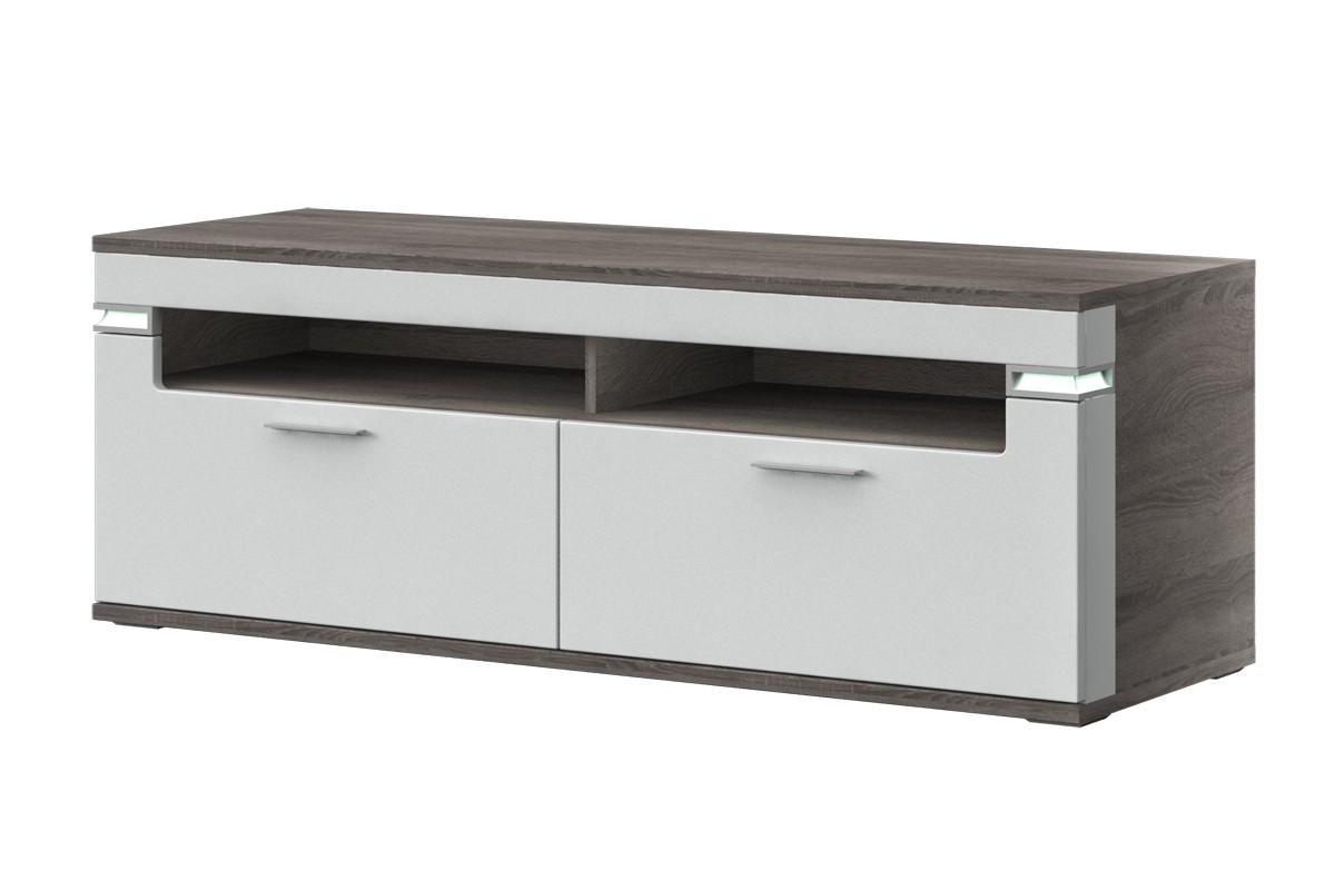 TV, Hifi stolek  - dřevěný Bow Typ 31 (dub truffel LDTD / bílá arctic vysoký lesk MDF)