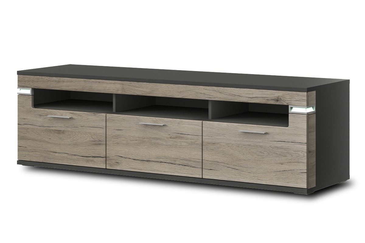 TV, Hifi stolek  - dřevěný Bow Typ 32 (grafit LDTD / dub san remo sand MDF)