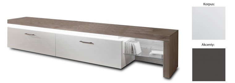 TV, Hifi stolek  - dřevěný Broke Typ 31 (bílá arctic / bílá arctic vysoký lesk / grafit)