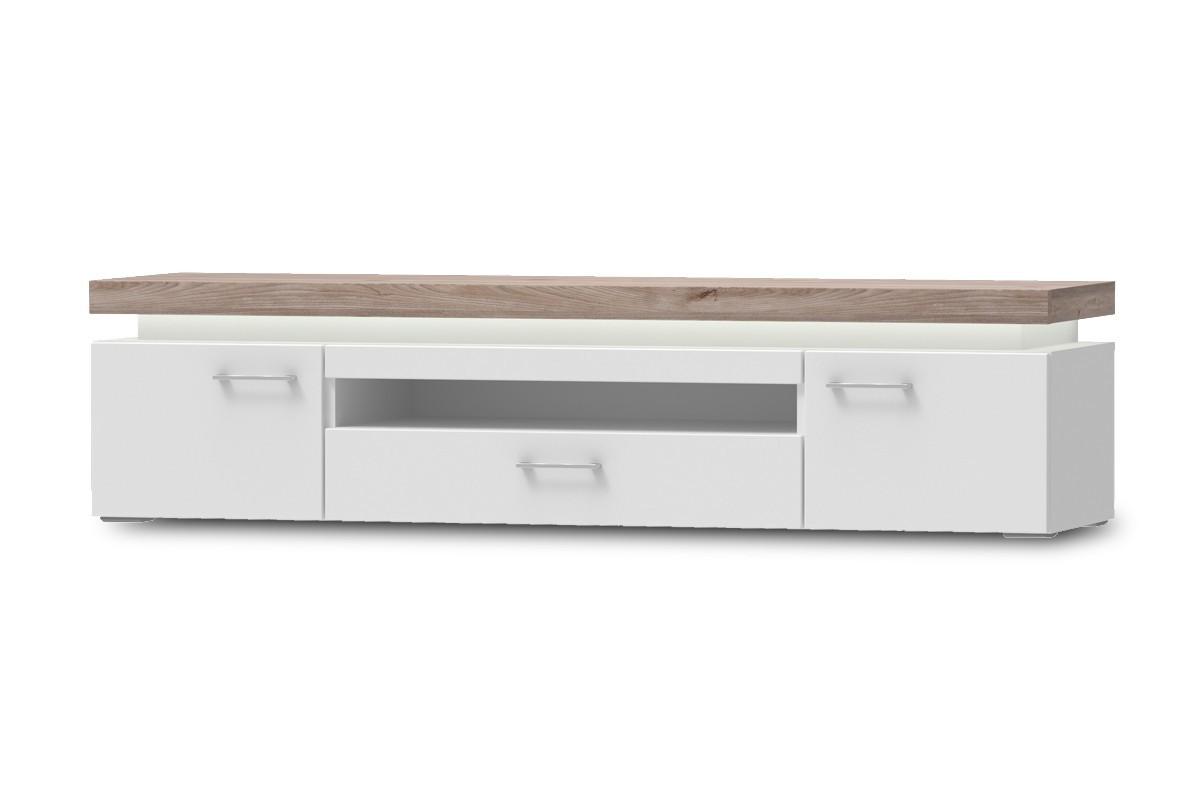 TV, Hifi stolek  - dřevěný Broke Typ 32 (bílá arctic/bílá arctic vysoký lesk/dub nelson)