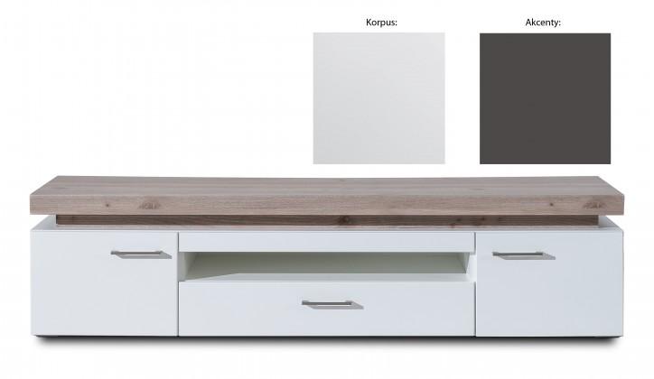 TV, Hifi stolek  - dřevěný Broke Typ 32 (bílá arctic / bílá arctic vysoký lesk / grafit)