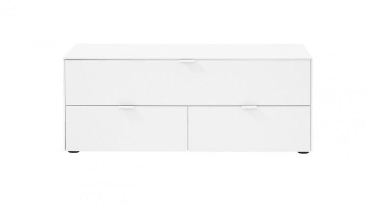 TV, Hifi stolek  - dřevěný Chase - TV stolek 572745 (bílá, sklo bílé)