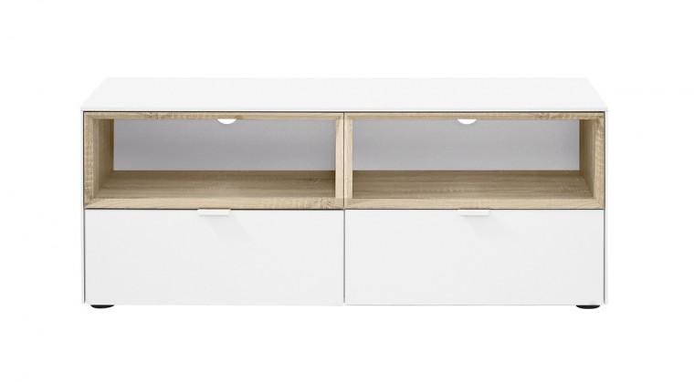 TV, Hifi stolek  - dřevěný Chase - TV stolek 572750 (bílá, nika dub HN, sklo bílé)