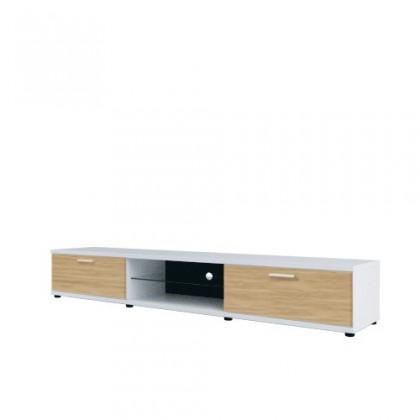 TV, Hifi stolek  - dřevěný Corano - typ 31 (bílá/dub)