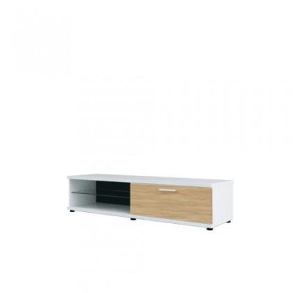 TV, Hifi stolek  - dřevěný Corano - typ 32 (bílá/dub)