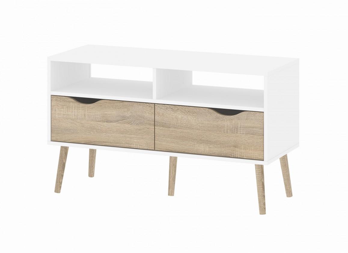 TV, Hifi stolek  - dřevěný Delta - TV stolek (bílá/dub)