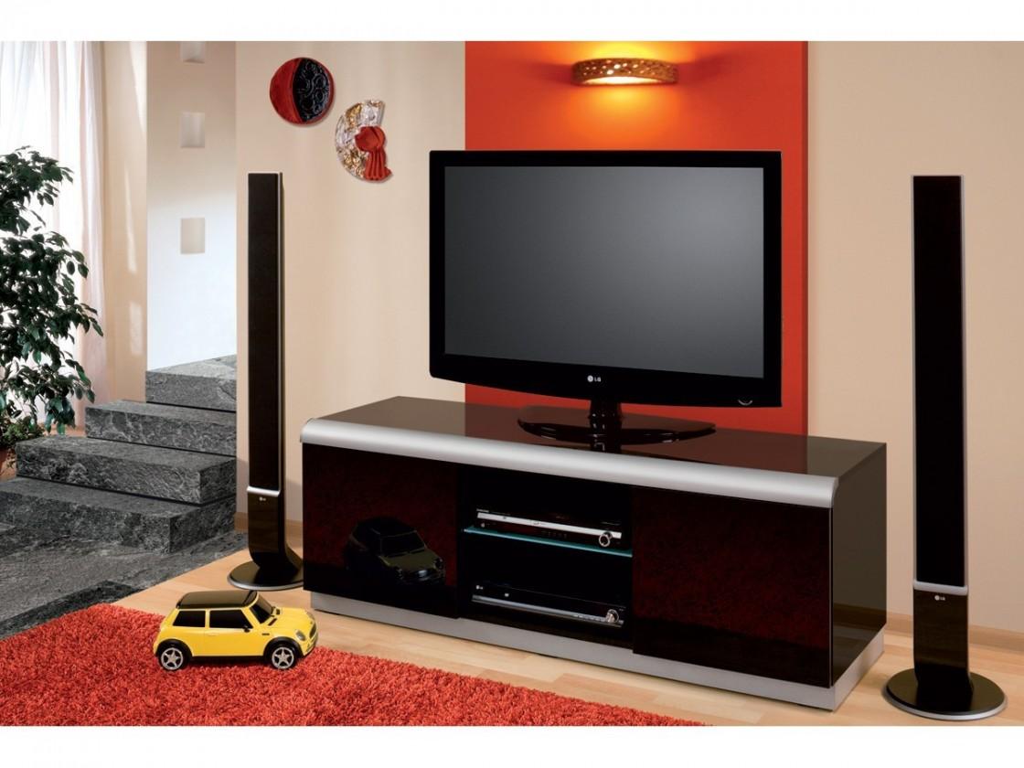 TV, Hifi stolek  - dřevěný Denver 2 - TV stolek (černá vysoký lesk)