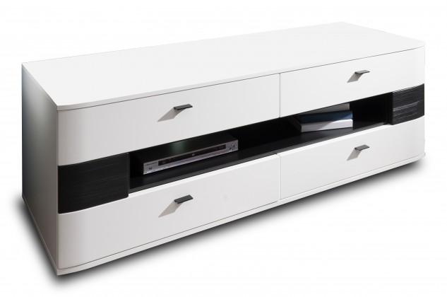 TV, Hifi stolek  - dřevěný Denver - Typ 31 (bílá arctic LDTD / černá strukturovaná)
