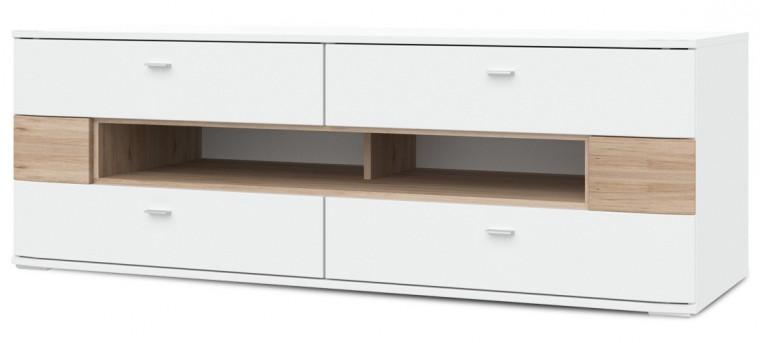 TV, Hifi stolek  - dřevěný Denver - Typ 31 (bílá arctic LDTD / san remo sand)