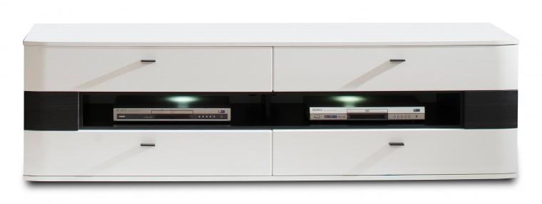 TV, Hifi stolek  - dřevěný Denver - typ 32 (bílá arctic LDTD / černá strukturovaná)