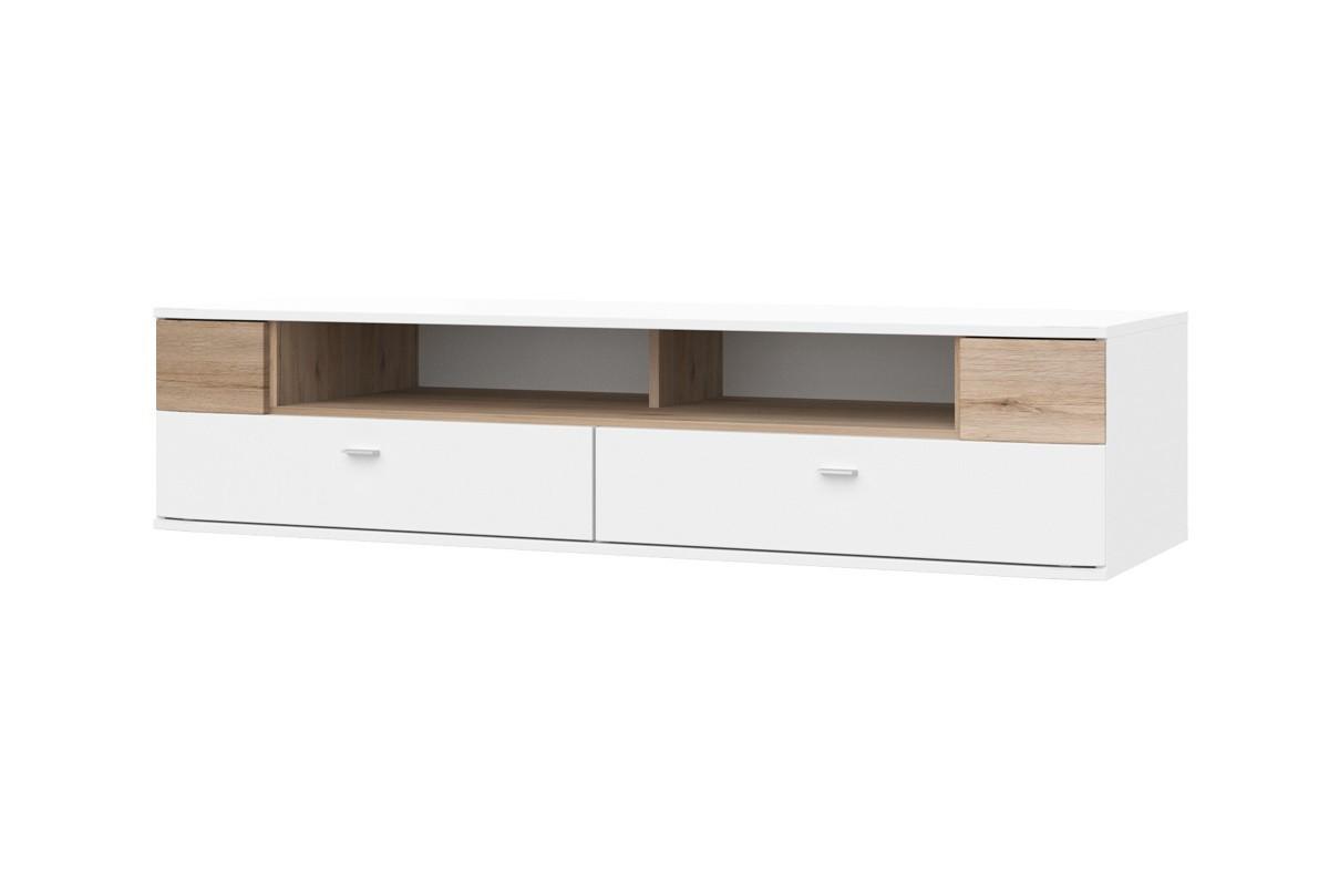 TV, Hifi stolek  - dřevěný Denver - Typ 33 (bílá arctic LDTD / san remo sand)