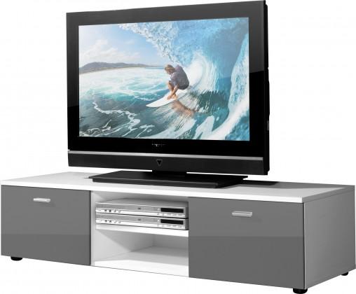 TV, Hifi stolek  - dřevěný Easy - TV stolek, 3665-103 (bílá/šedá vysoký lesk)