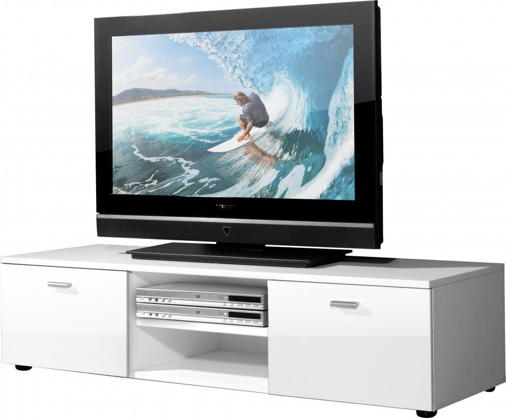 TV, Hifi stolek  - dřevěný Easy - TV stolek, 3665-84 (bílá/bílá vysoký lesk)