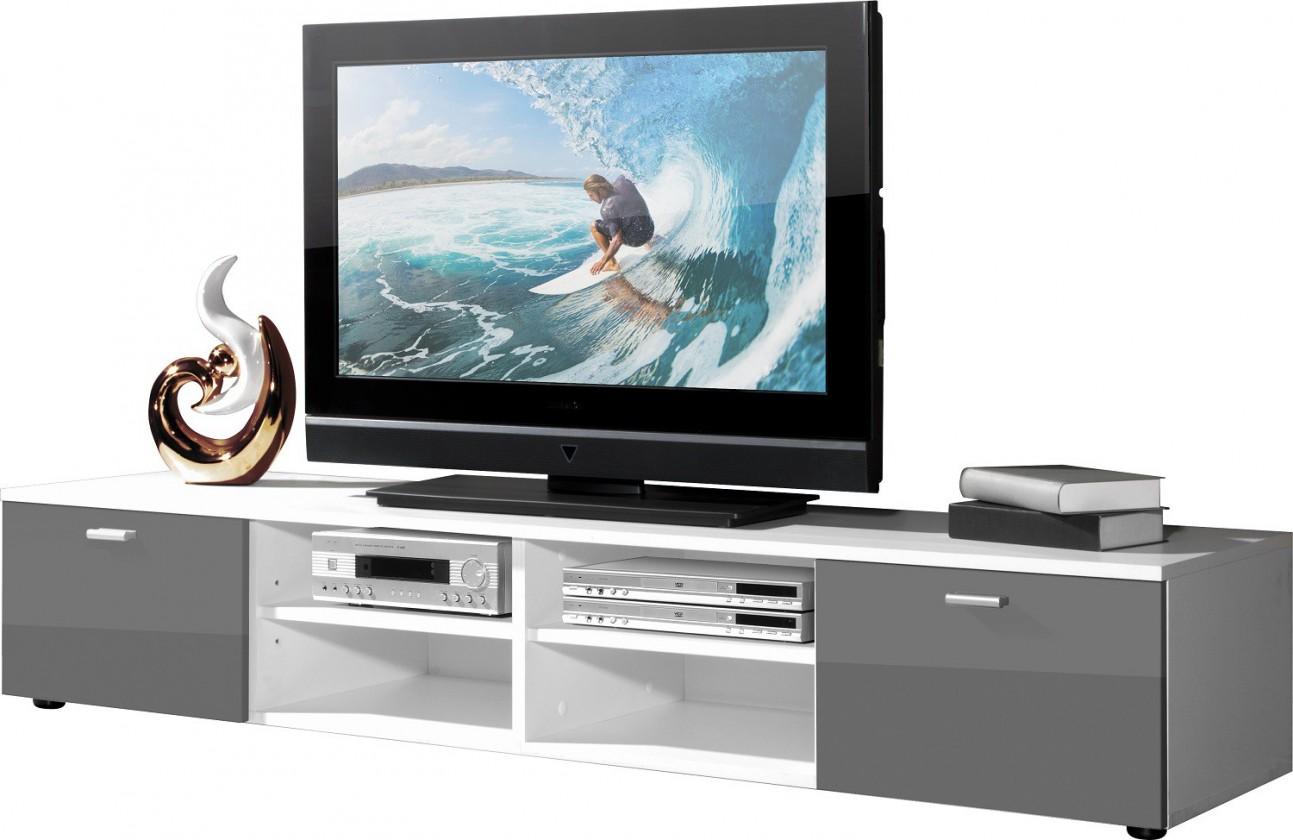 TV, Hifi stolek  - dřevěný Easy - TV stolek, 3666-103 (bílá/šedá vysoký lesk)