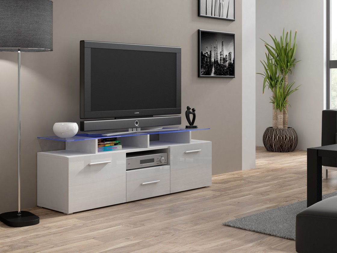 TV, Hifi stolek  - dřevěný Evora mini - TV stolek (korpus - bílá)