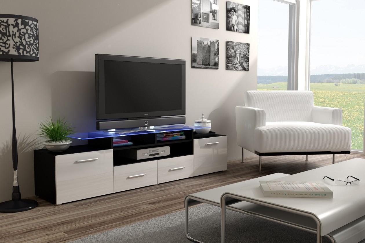 TV, Hifi stolek  - dřevěný Evora - TV stolek (dekor korpusu - černá)
