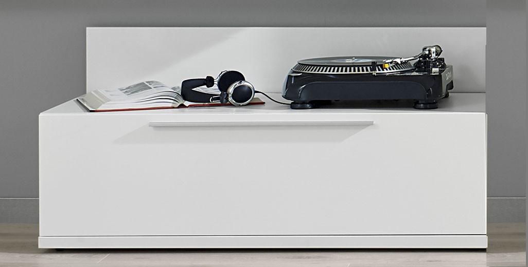 TV, Hifi stolek  - dřevěný Gamble - TV stolek 570752 (bílá/bílá lesk)