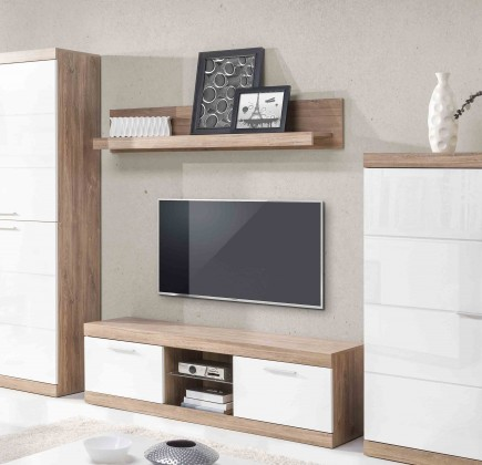 TV, Hifi stolek  - dřevěný Gulio - TV komoda (dub stirling/bílý MDF lesk)