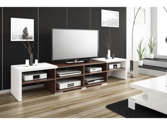 TV, Hifi stolek  - dřevěný Krypton - TV stolek (bílá vysoký lesk/wenge)