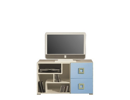 TV, Hifi stolek  - dřevěný LABYRINT LA 10 (krémová/modrá)